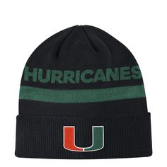 acrylic Jacquard graphic on crown Embroidered team logo on front cuff Branding embroidered on center back cuff Miami Hurricanes, Coaches, Team Logo, Beanie, Adidas, Hats, Green, Black, Caps Hats