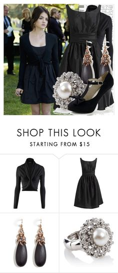 """""""aria."""" by stray-cat ❤ liked on Polyvore featuring jared, Strenesse, Eliza J, Alexis Bittar, Oasis, bolero jackets, cardigans, aria montgomery, lucy hale and pretty little liars"""