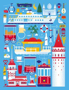 """Belgian lifestyle magazine Knack Weekend have a series of about travelling. They asked seven local designers to create the covers for seven cities; New York, London, Barcelona, Paris, Berlin, Istanbul and Amsterdam. Tamer Kose illustrated a cover for """"Knack Weekend - Istanbul Issue No:31"""". Things about Istanbul, such as nostalgic tram, döner, kebab, Turkish Coffee, Maiden's Tower, Galata Tower, seven hill, Bosphorus Bridge"""