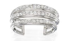 Lot 511: platinum, palladium and diamond triple band cuff by Suzanne Belperron Picture: Sotheby's New York