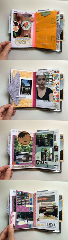 Japan Vacation Mini-Scrapbook Album Part 1 - Campfire Chic Vacation Scrapbook, Mini Scrapbook Albums, Bullet Journal Travel, Travel Journals, Photo Journal, Smash Book, Scrapbook Supplies, Altered Books, Photo Book