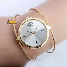 Charm Women Lady Girl Silver Steel Wire Round Dial HouAnalog Quartz Bracelet Bangle Wrist Watch Top Quality Best Gift B6970