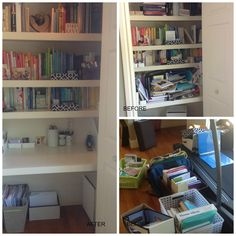A closet nook transformed to a workspace.  It's cozy and functional.  Just enough space to really focus when the client needed to.