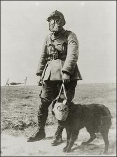 A French sergeant and a dog, both wearing gas masks, make their way to the front line during World War I. Note the two men in the background carrying a stretcher.