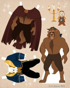 In honor of Disney& Beauty and the Beast in coming to theaters this Friday, here are some paper dolls! As you can guess, I am more than excited for Beauty and the Beast in Beauty and the . Heros Disney, Disney S, Disney Princess, Beauty And The Beast Party, Disney Beauty And The Beast, Disney Beast, Beauty Beast, Imprimibles Toy Story Gratis, Disney Paper Dolls