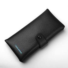 2017 Famous Luxury Brand Man Long Purse Vertical Slim Money Clip Solid Genuine Leather Men Wallet Clutch Bag For Credit Cards