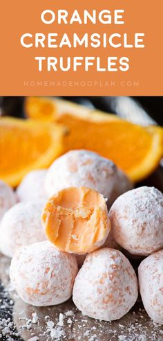 Orange Creamsicle Truffles! Delicious orange truffles that will remind you of all the creamsicle treats you had as a kid. Easy to make and a great snack for parties! | HomemadeHooplah.com via @homemadehooplah