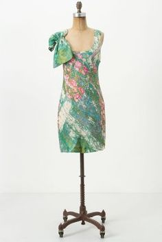 anthropologie Revisited Impressionist bow dress
