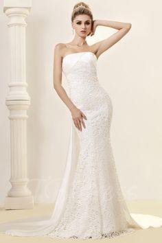 #AdoreWe #TBDress TBDress Mermaid Strapless Floor-length Watteau Lace Dashs Wedding Dress - AdoreWe.com