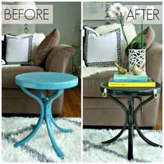 Spray Paint Table Makeover with High Gloss and Brass Lion Hardware via Bliss at Home Iron Furniture, Paint Furniture, Spray Paint Table, Touchless Kitchen Faucet, Refinished Table, Furniture Inspiration, Furniture Ideas, Vintage Home Decor, Repurposed