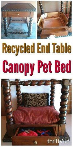 This page contains instructions to make a cute pet canopy bed from a recycled end table. This is a guide about recycled end table canopy pet bed.