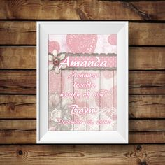 Baby Name meaning keepsake print, Baby keepsake , wall decor, nursery decor, baby girl nursery prints, Baby girl keepsake prints by MNaArtAndGraphics on Etsy