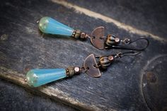 rustic tribal earrings  oxidized copper  teardrop  by entre2et7