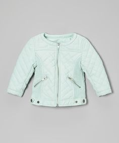 Sharpen the edge on an outfit and pop this jacket over dresses and tops. Its quilted faux leather and metallic zippers offer on-trend fashion to the best-dressed girls.100% polyesterMachine wash; hang dryImported