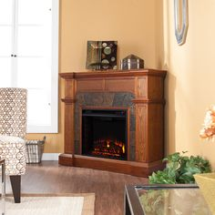 Cartwright Wall or Corner Electric Fireplace in Mission Oak - FE9285