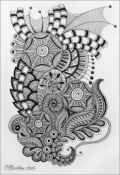 Zentangle art, gelpen, Viktoriya Crichton.