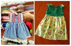 vestidos niña confeccionados con tela y dos agujas