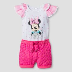 This Baby Girls& Minnie Mouse Flutter Sleeve Bodysuit with Shorts in Pink is a must for your little mouse. Featuring adorable flutter sleeves, sweet screen print, and comfy style, she& love cruising around town in this bodysuit and shorts set. Kids Outfits Girls, Toddler Girl Outfits, Toddler Fashion, Kids Fashion, Baby Outfits, Minnie Mouse Bedding, Baby Girl Shoes, Baby Girls, Disney Baby Clothes