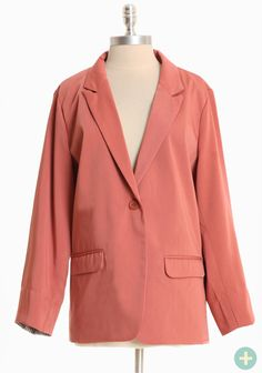 """Uptown Promenade Curvy Plus Blazer 42.99 at shopruche.com. This chic blazer in deep blush features tailored lines, pockets, and a single button closure. Fully lined.  100% Polyester, Imported, 28"""" length from top of shoulder"""