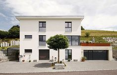 A wide flat roof should protect the facade of the building. SwissHaus