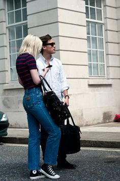 stripe tee + high waist jeans + chucks