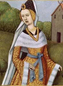 References for Burgundian costuming. Illuminations showing different styles of overgowns either burgundian or of burgundian influence.