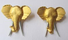 Fabulous designer signed earrings #Elephant gold and silver tone NEW  Jonette Jewelry Artifacts 1986 collectible- Unique gift woman wife mom