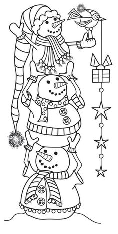 Hampton Art - Wood Mounted Stamp by Outlines - Snowman Tower: