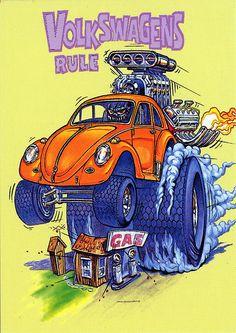 Rat Fink Ed Big Daddy Roth - Volkswagens Rule Cartoon Rat, Cartoon Pics, Rat Fink, Car Drawings, Cartoon Drawings, Ed Roth Art, Monster Car, Big Daddy, Automotive Art