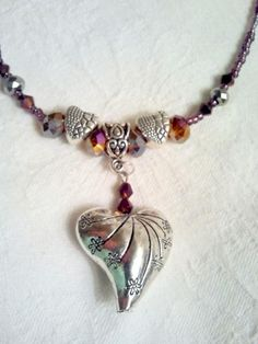 Danielle: Handmade necklace with romantic heart design and crystal beads