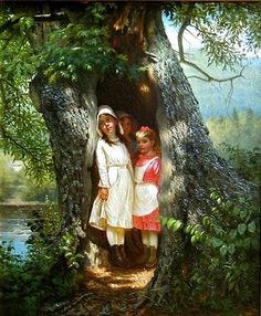 Hiding in the Old Oak John George Brown (British, 1831 - Brown Art, Historical Art, Precious Children, Victorian Art, Vintage Frames, Painting Inspiration, Art Inspo, American Artists, Art Google