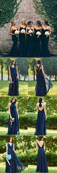 Navy blue bridesmaid dresses #wedding #bridal #bridesmaid #weddingdress #beachwedding #weddingtheme