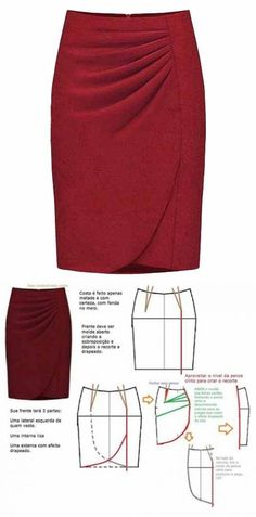 Skirt pattern with a smell and horizontal folds Skirt Patterns Sewing, Clothing Patterns, Pattern Skirt, Sewing Clothes, Diy Clothes, Fashion Sewing, Modest Dresses, Skirt Outfits, Dressmaking