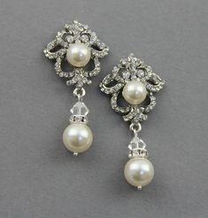DISCOUNT 15 - Bridal dangle earrings , Wedding crystal  pearl earrings ,wedding jewelry , dangle earrings, wedding pearl  jewelry. $59.00, via Etsy.