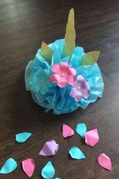 BRICOLAJE SET 4 unicornio papel Pom Pom / decoración /