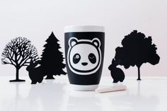 Panda chalk mug. Hand painted cup with chalkboard effect paint. Panda - Po This mug has been created for a big contest on Facebook called #pandamonamour and launched by the creator of Veille sur toi. Quebec creators were called to create a product with a panda face on it. Heres
