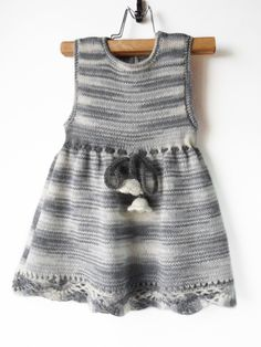 Knitted Baby Dress Gray and White 12 18 by SasasHandcrafts