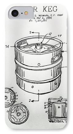 Beer Keg 1994 Patent - Graphite Pencil Sketched Art from the art studio of Scott D Van Osdol available at fineartsamerica.com