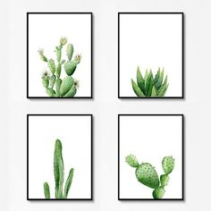 Check out our tropical wall decor selection for the very best in unique or custom, handmade pieces from our shops. Art Watercolor, Watercolor Plants, Art Scandinave, Cactus Art, Cactus Plants, Cactus Decor, Cactus Terrarium, Art Blanc, Bel Art