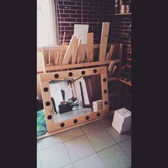 Raw pine wood frame. 60x80cm lighten make-up mirror.