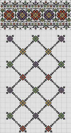 Border and lattice pattern Folk Embroidery, Embroidery Patterns Free, Hand Embroidery Designs, Beaded Embroidery, Cross Stitch Embroidery, Cross Stitch Borders, Cross Stitch Charts, Cross Stitch Designs, Cross Stitching