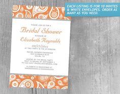 Orange Paisley Bridal Shower Invitations