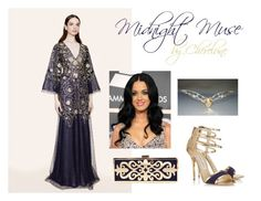 """""""Midnight Muse"""" by cherelune ❤ liked on Polyvore featuring Marchesa, women's clothing, women's fashion, women, female, woman, misses, juniors, fantasy and goddess"""