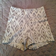 NWT VS Aztec shorts Brand new VS shorts with an Aztec print. Heather gray and a darker gray. High waisted. Cotton/poly/spandex blend. No trades, price firm. Victoria's Secret Shorts