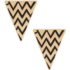 Asos Zig Zag Enamel Triangle Earrings (58 BRL) ❤ liked on Polyvore featuring jewelry, earrings, accessories, women, enamel jewelry, earring cuff jewelry, polish jewelry, earring jewelry and triangle jewelry
