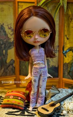 Purple Wildflower. Crocheted Halter Top And Boheminan Pants For Blythe Doll
