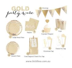 Chevron Gold Foil Collection | Bickiboo Party Supplies