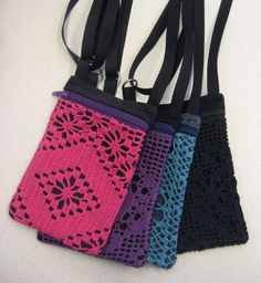 Kännykkäpussi Textiles, Recycle Jeans, Pouches, Sewing Projects, Wallet, Knitting, Crochet, Womens Fashion, Pattern