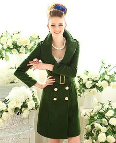2012 New Arrival Women Wool Coat Fur Collar Double Breasted Trench Long Jacket | eBay