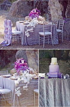 crinkle taffeta silver linens and Juliet lavender chair covers http://styleunveiled.com/wedding-blog/purple-geode-wedding-inspiration.html